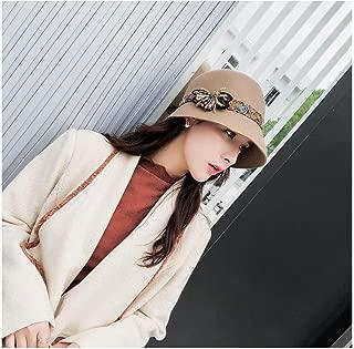LiWen Zheng Winter Female Fedoras Wool Felt Hats Elegant Bucket Ethnic Style Belt Floral Women Fedora Hat