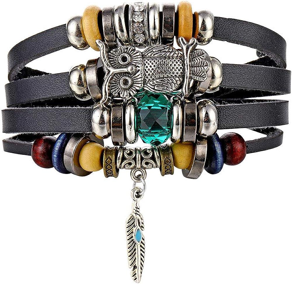 IFKM Leather Bracelet Black Brown Braided Wide Wristband Women Men Punk Jewelry Skull…
