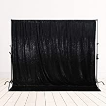 SquarePie Sequin Backdrop Not See Through Thick Stain Background for Photography Glitter Curtain Party 6FT x 6FT Black