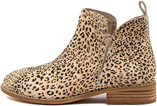 WALNUT Douglas Honey Leopard Womens Shoes Flat Ankle Boots