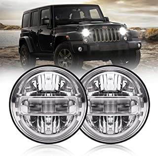 7 Inch Led Headlights DOT Approved Jeep Headlight with DRL Low Beam and High Beam for Jeep Wrangler JK LJ CJ TJ 1997-2018 Headlamps Hummer H1 H2-2019 Exclusive Patent (Silver)