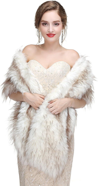 BessWedding Wedding Capes Faux Fur Stole Bridal Shawls and Wraps Evening Shawls