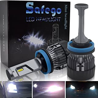 H11 H8 H9 LED Headlight Bulb SAFEGO 60W 65000K 10000LM Extremely Bright Led Chips Waterproof Ip65 360°Degree Lighting for Car Headlight Replacement,1Pair