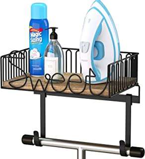 SRIWATANA Ironing Board Hanger Wall Mount, Iron & Ironing Board Holder with Wooden Base