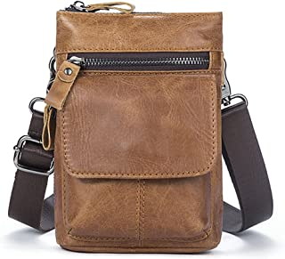 bcf198f33f4 Gendi Práctico para Hombre de Cuero Mini Cross Body Bag Pequeño teléfono  móvil Funda Bolsa de