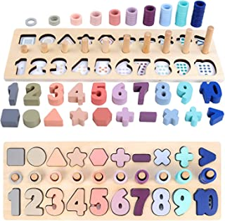 QZMTOY Counting Shape Stacker Wooden Count Sort Stacking...