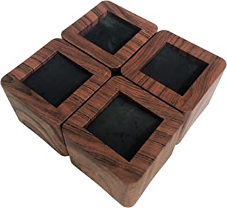 MIIX HOOM / Bed Risers 3 Inch   Heavy Duty Wooden Color Furniture Risers   4PCS   Dark Brown Sofa Couch Risers or Table Risers (Dark Wood Color)