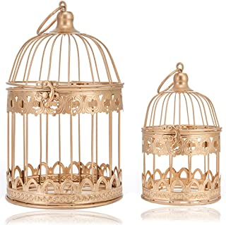 LONGBLE 2 Pcs Round Wedding Birdcages Gift Card Holder Decorative Gold Metal Wall Hanging Laterns, Candelabra, Bird Cage for Small Birds Party Home Garden Decorations