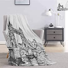 Luoiaax Vintage Fuzzy Blankets King Size Old Fashion London Tower Bridge Sketch Architecture British UK Scenery Art Print Soft Throw Blankets for Adults W60 x L91 Inch Black White