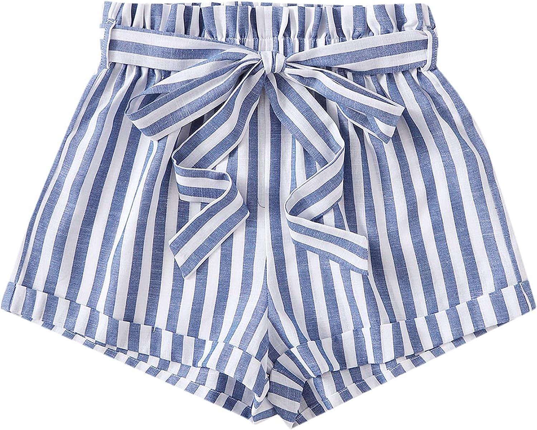 SweatyRocks Women's Casual Print Elastic Paperbag Waist Self Tie Summer Beach Shorts