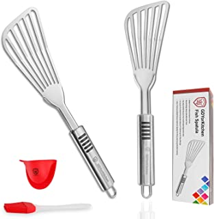 Fish Spatula - Stainless Steel Slotted Turner with Durable 1.2mm Thickness Blade for Fish/Egg/Meat/Dumpling Turning, Flipp...
