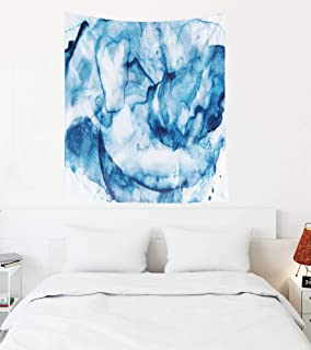 Capsceoll Blue Tapestry, 50x60 Inches Tapestries Artistic Watercolor Background Picture Stains Strokes Blobs Bubbles Streaks Wall Hanging Tapestry for Décor Dorm Tapestry Living Home,Navy Blue