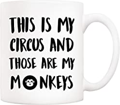 5Aup Christmas Gifts Funny Quote Coffee Mug, This Is My Circus and Those Are My Monkeys Novelty Ceramic Cups 11Oz, Unique ...