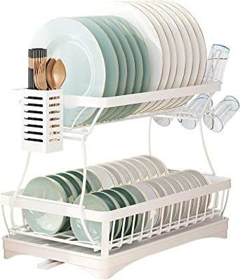 ICEETING LIFE 2-Tier Dish Drying Rack with Drainboard,Dish Rack with Utensil Holder and Glass Holder, 2 Tier Kitchen organizer with Dish Drainer for Kitchen Counter Top