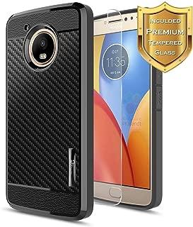 Moto E4 Plus Case with Tempered Glass Screen Protector, NageBee Carbon Fiber Premium Slim Protective Rubber Bumper Case for Motorola Moto E4 Plus 4G LTE -Black