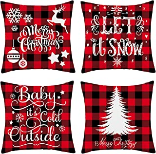 WFLOSUNVE Set of 4 Soft Flannel Christmas Throw Pillow Covers, Red Black Buffalo Check Plaid Snowflake Decorative Pillow Cases Cushion Covers for Couch and Sofa 18x18 Inch (christmas4)