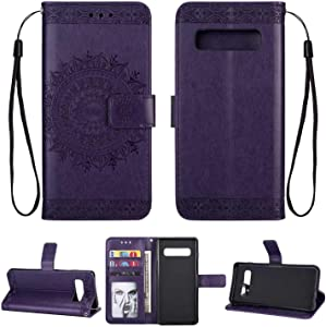 HCUI Leather Case for Galaxy S10  Ultra Slim with Magnetic Closure  Retro Vintage  Leather Wallet Stand Flip Case for Galaxy S10 Purple