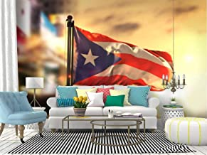 puerto rico flag against city blurred at sunrise backlight puerto Canvas Print Wallpaper Wall Mural Self Adhesive Peel & Stick Wallpaper Home Craft Wall Decal Wall Poster Sticker for Living Room