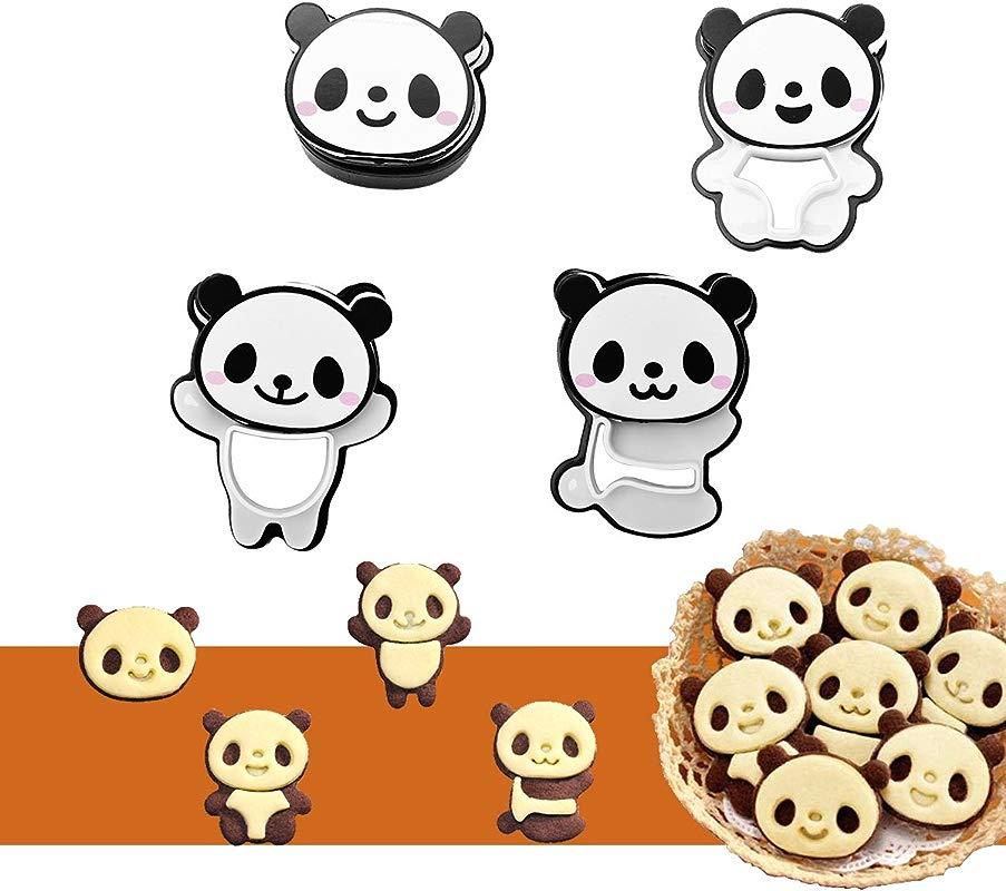 Ewinever DIY Cute Panda Bear Cookie Cutter Set Fondant Cutters Cake Decoration Molds Cartoon Cookie Chocolate Maker Stamp Kit Mold For Kids