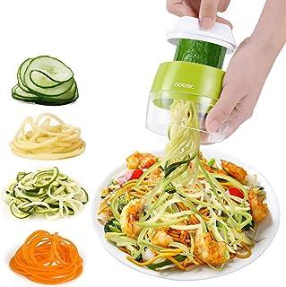 Adoric Cortador de Verdura 4 en 1 Rallador de Verduras Calabacin Pasta Espiralizador Vegetal Veggetti Slicer Pepino, Espag...