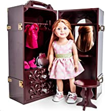 Doll Trunk Storage Case for 18 Inch Dolls, Clothing, Shoes & Accessories.Mahogany Stained Wood with Removable Vanity, Stool Plus 4 Clothing Hangers. Compatible with American Girl Dolls!
