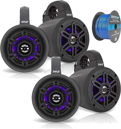 """$142 Get 4"""" Waterproof Marine Wakeboard 300 Watt LED Tower Speakers - Black - 2 Pairs, Enrock Marine Grade Spool of 50 Foot 16-Gauge Tinned Speaker Wire"""