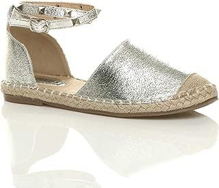 Ajvani Women's Studded Ankle Strap Espadrilles Shoes Size