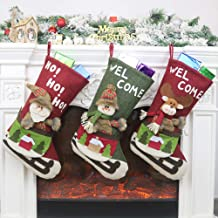 XXF Christmas Stocking, 3 include Santa, Snowman, Reindeer, Xmas Character 3D Plush with Faux Fur Cuff Christmas Decorations and Party Accessory.
