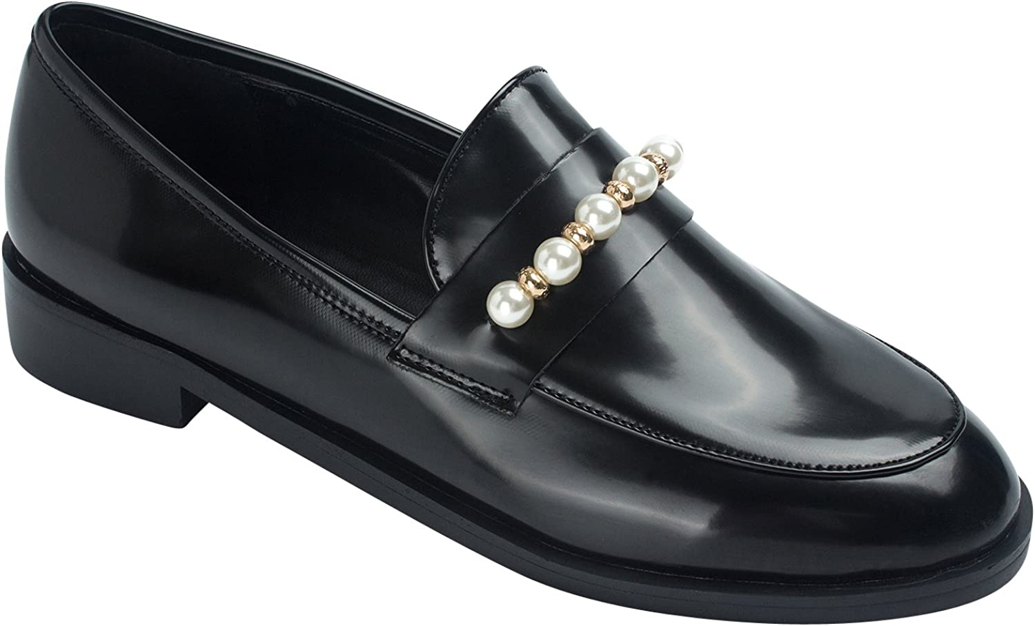 AnnaKastle Womens Classic Black Loafer Flats shoes Pearl