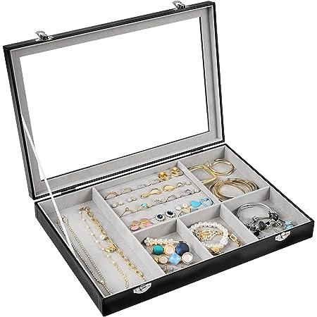 Procase Boîte à Bijoux Rigide en Cuir, Rangement avec Vitrine Couverture, 6 Compartiments Grande Capacité, sans Perdre ou Abîmer Noir
