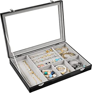 Procase Boîte à Bijoux Rigide en Cuir, Rangement avec Vitrine Couverture, 6 Compartiments Grande Capacité, sans Perdre ou ...
