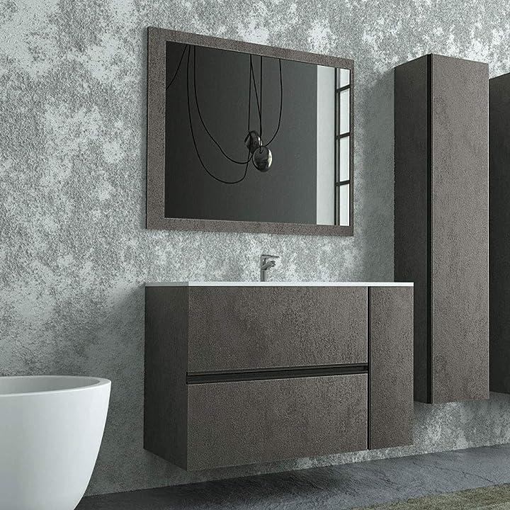 Mobile bagno sospeso 90 cm, colore industrial effetto pietra, completo di lavabo in ceramica e specchio B084WWK7GV