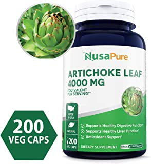 Artichoke Extract 4000mg 200 Veggie caps (Non-GMO, Extract 4:1 & Gluten Free) Cynara Scolymus Leaf - Healthy Weight Management, Digestive Health & Antioxidant Protection