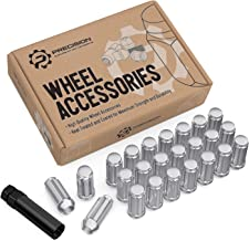 24pcs Silver Spline 14x1.5 Lug Nuts (51mm Length x 22mm Width) Bulge Cone Acorn Taper Seat - Includes 1 Socket Key For 2015-2019 Ford F150, 2018+ Jeep Wrangler JL, Various Chevy GMC Buick Cadillac