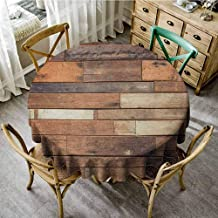 Suchashome Table Cover Wooden Rustic Floor Planks Print Grungy Look Farm House Country Style Walnut Oak Grain Image Brown Summer Round Tablecloth Diameter 70