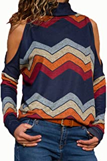 Sexy Cold Shoulder Sweatshirt for Women High Neck Top Cut Out Shoulder Pullovers Blouse Shirts Shirts Tee (Color : Navy Bl...