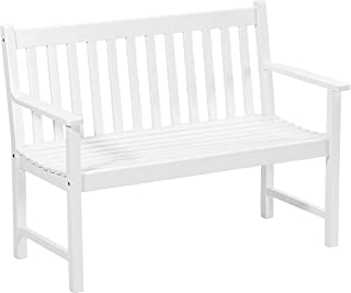wei/ß 2-Sitzer Dehner Gartenbank Mykonos ca 120 x 89 x 61 cm FSC Akazienholz