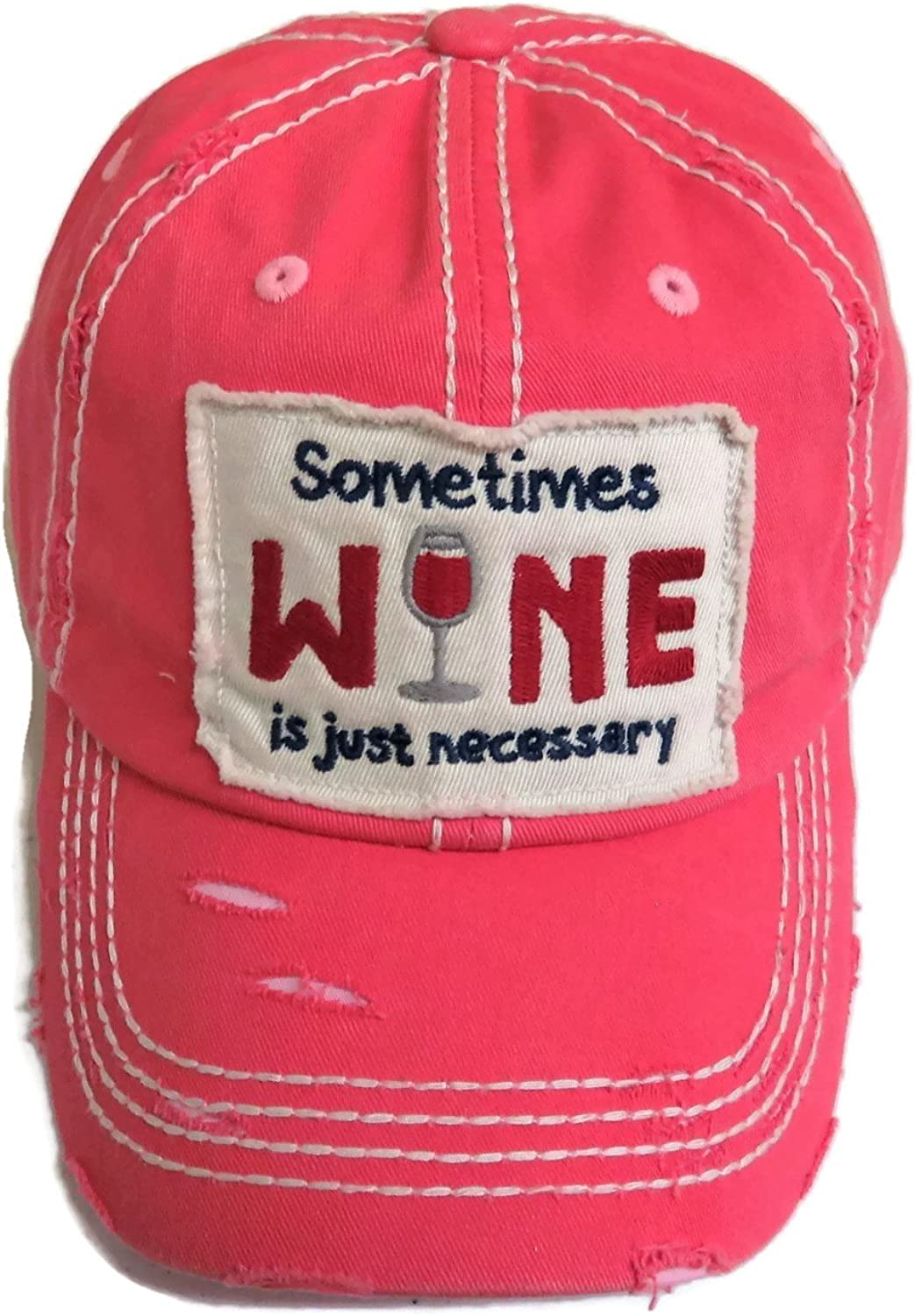 Spirit Caps Embroidered Sometimes Wine is Just Necessary Washed Pink Baseball Cap