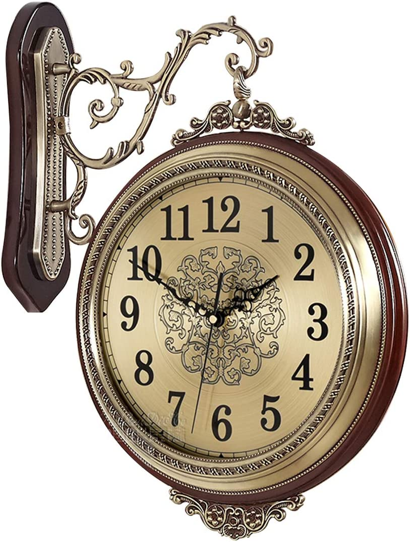 16'' Large Wall Clock Double Sided Clocks 360° Battery Operated Clock Luxury European Style Non-Ticking Silent Clocks for Living Room Decorative/Bedroom/Kitchen