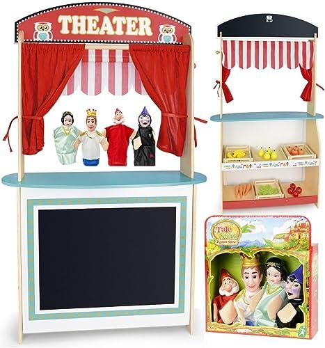 Leomark Jouet 3in1: Marché et théâtre de Bois + 4 marionnettes à Main, Jeu D'Imitation, Jouets de Rôle pour Enfants