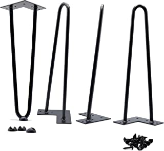 16 Inch Hairpin Legs 9.70 lbs(Ours) v 5.25 lbs(Others) True Heavy Duty and Double Weld 1/2 v 3/8 inch Diameter Heavy Duty Free Rubber Feet and Screws Included by Homeland Hardware