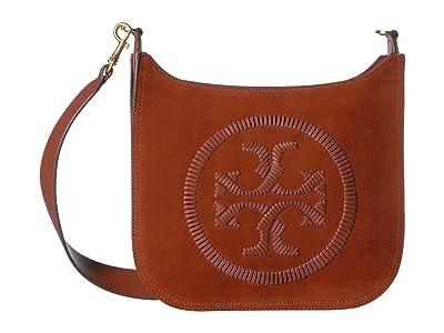 Tory Burch Ella Whipstitch Flat Crossbody (Kola) Handbags