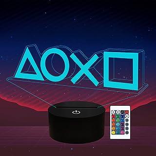 Game Player Gift 3D Night Light 16 Multicolors Kids Changing Night Lamp con control remoto, decoración de la sala de juego...