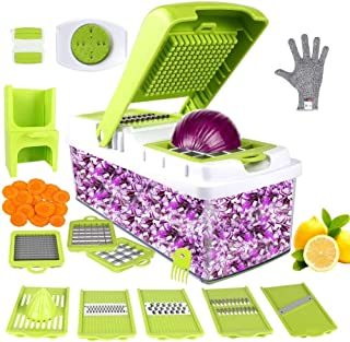 Vegetable Chopper Food Chopper Onion Slicer 10 Sliced ​​Vegetable Dicing Machine Manual Slicer for Garlic Cabbage, Carrot, Potato, Tomato, Tomato, Fruit Salad