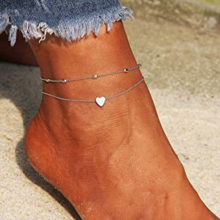 Artmiss Layered Anklets Women Heart Silver Ankle Bracelet Charm Beaded Dainty Foot Jewelry for Women and Teen Girls Summer Barefoot Beach Anklet