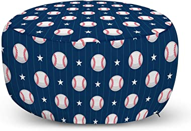 Ambesonne Sports Ottoman Pouf, Baseball Patterns on Vertical Striped Background Stars Design, Decorative Soft Foot Rest with