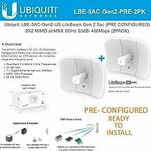 LiteBeam Gen 2 AC LBE-5AC-Gen2-US Pre-Configured 2X2 MIMO airMAX Antenna 5GHz 23dBi 450Mbps (2-Pack)