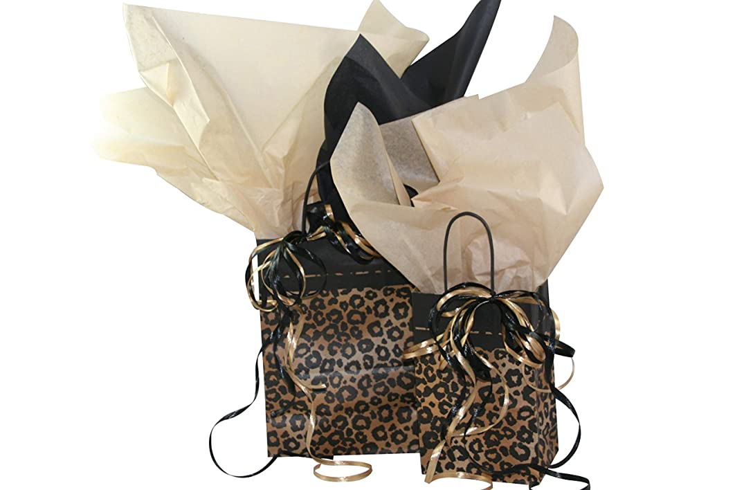 All Occasion Gift Bag Assortment with Coordinating Tissue Paper and Ribbon - 16 Pieces (Leopard Safari)