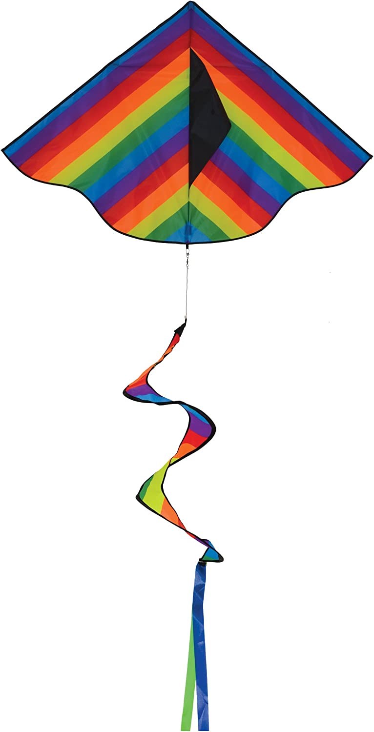 In the Breeze 3158 Rainbow Stripe Delta Spinning Tail, 46-Inch K