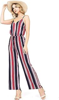 Ambiance Apparel Women's Juniors Wide Leg Striped Jumpsuit